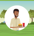 people and fast food vector image