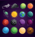 planets space icon set cartoon style vector image
