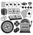 poker and casino gambling objects design elements vector image vector image
