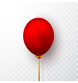 realistic red balloon on transparent background vector image vector image