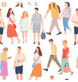 seamless pattern with walking young people men