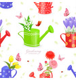 seamless texture with lovely flowers in watering vector image