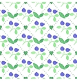 Seamless watercolor pattern with blueberries on vector image