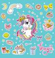 set cartoon unicorns head vector image