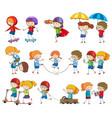 set kids character activity vector image vector image