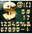 Set of golden 3D alphabet vector image vector image