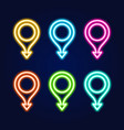 set realistic isolated neon sign with arrow vector image vector image