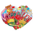 sketchy doodle heart with word vector image
