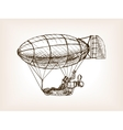 Steampunk mechanical flying airship sketch vector image vector image