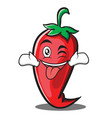 tongue out with wink red chili character cartoon vector image vector image