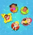 top view kids floating on inflatable vector image