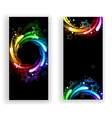Two Banners with Rainbow Stars vector image
