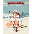 Vintage pin up girl with skis poster vector image
