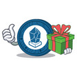 with gift lisk coin character cartoon vector image vector image