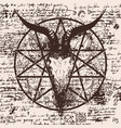 With skull of goat and pentagram