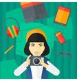Woman holding camera vector image vector image