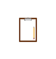 Blank clipboard with white paper and pencil vector image