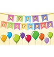 Happy birthday Text on rope with balloons vector image