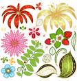 Set colorful floral design elements vector image