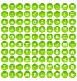 100 kids games icons set green circle vector image vector image