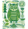 Ornate woodblock style owl vector | Price: 1 Credit (USD $1)