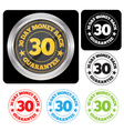 30 Day Money Back Guarantee Seal Set vector image