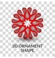 3d Ornament shape on transparent grid background vector image