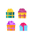 a set festive boxes with gifts tied with satin vector image vector image