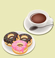A Smoking Hot Coffee with Glazed Donuts vector image vector image