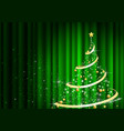 abstract christmas tree in front green curtain vector image vector image