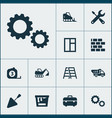 architecture icons set collection of glass frame vector image vector image