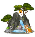 background scene animals waterfall vector image vector image