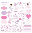 birthday and girl bashower design elements set vector image vector image