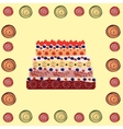 Birthday cake cream with berries vector image vector image