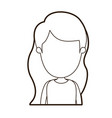 black thick contour caricature faceless front view vector image