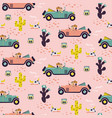car race in sand desert cute girl seamless pattern vector image
