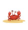 cartoon crab crawling on sand vector image vector image