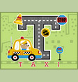 cartoon of urban transportation with cute driver vector image