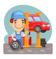 cartoon tire fitting in a workshop vector image