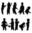 children happy silhouette vector image vector image