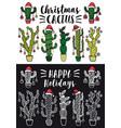 christmas cactus set cactus set vector image vector image