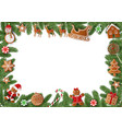christmas frame with pine branches and gingerbread vector image vector image