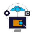 cloud computing folder analysis computer vector image vector image