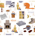 cute hygge seamless pattern cosy home vector image vector image