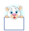 cute little polar bear holding blank sign vector image vector image