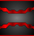 dark metal perforated background with red stripes vector image vector image