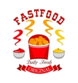 Fast food chicken nuggets emblem vector image vector image