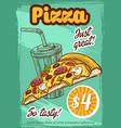 fast food pizza menu sketch poster vector image vector image