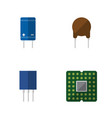 flat icon device set of triode unit transistor vector image vector image