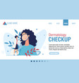 flat landing page advertising dermatology checkup vector image vector image